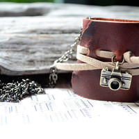 MiniBook Necklace Camera & Rustic Red leather