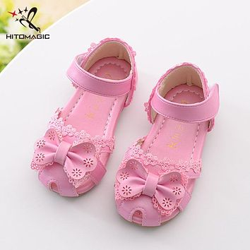 HITOMAGIC 2017 Kids Shoes Sandal Girls Leather Kids Girl Summer Shoes Bowtie Baby Sandals Soft Leather Children Footwear Pink