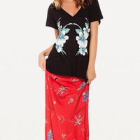TROPICAL BABE CLASSIC V NECK at Wildfox Couture in  -CLEAN WHITE, - CLEAN BLACK