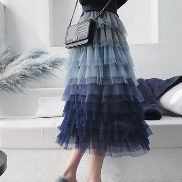 New Blue Gradient Color Cascading Ruffle Grenadine Tiered High Waisted Fluffy Puffy Tulle Cute Long Skirt