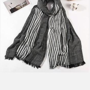 100% Cotton Scarf Men High Quality Long Fashion Blue Black Color Striped Scarf Luxury Warm Autumn And Winter Scarves Men Scarf