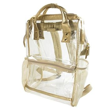 Clear Hinge Top Backpack | Gold
