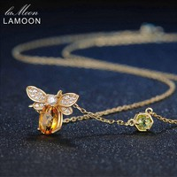 LAMOON Sweet Bee Pendant Natural Gemstone Citrine Necklace 925 Sterling Silver Yellow Gold Fine Jewelry Gift NI015