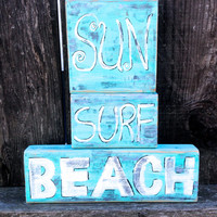 Beach Sun Surf- Wood Painted Signs- Hand Painted-Distressed- Beach Theme Decor for the home-Summer Inspired