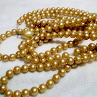 "Glass Pearls, Champagne Color, Flapper Length, Long, 54"" Single Strand, Vintage, Estate Jewelry, Costume Jewelry,"