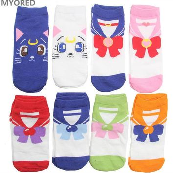 VONEZ9R MYORED female cartoon sailor moon ankle socks women cotton invisible bow tie short sock girls lady cute cat animal sock slippers