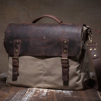 Waxed canvas messenger - waxed bag - shoulder bag - men messenger - men handbag - men leather handbag - men waxed canvas handbag - beige bag