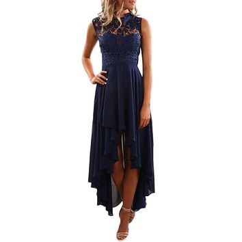 Chic Navy Floral Lace Bodice High-low Prom Dress