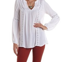 White Crochet-Trim Gauze Tunic Top by Charlotte Russe