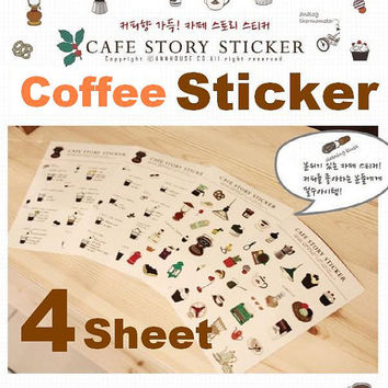 Cafe coffee shop sticker Candy house food chef cooking cartoon icon cupcake kitchen Picnic Recipes tag deco mail card envelope gift  craft