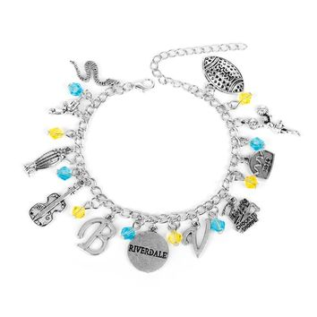 MQCHUN Riverdale TV Series Pop's Chock'lit Shoppe Logo Charm Bracelet Guitar Metal Pendant Bracelets Bangles For Men Women Gifts