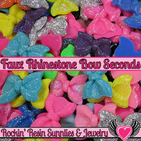 Grade B SEconds 4 pcs FAUX RHINESTONE Bows Large Flatback Resin Decoden Kawaii Cabochons 54x42mm