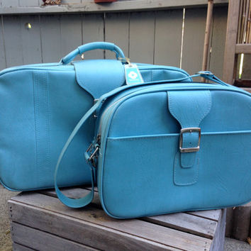 Vintage Samsonite Luggage Turquoise Blue Sidekick Carry on and Medium Suitcase 2 Piece Set Overnight Weekend Getaway Travel Bag