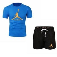 NIKE Jordan Summer New Fashion Letter People Print Women Men Sports Leisure Top And Shorts Two Piece Suit Blue