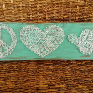 Peace Love and Shaka Reclaimed Wood String Art Sign, Beachy Home Decor, Hawaiian Themed Wall Hanging, Made to Order