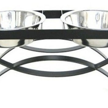SeeSaw Double Elevated Dog Bowl - Large/Mocha