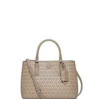 Tory Burch Robinson Floral Perforated Mini Double-zip Tote