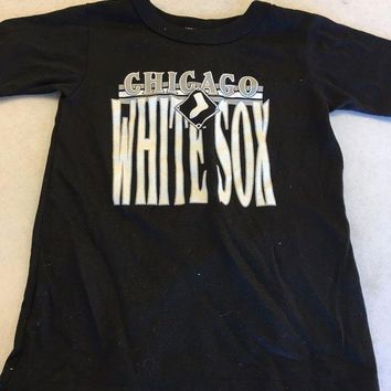 ONETOW BRAND NEW RETRO CHICAGO WHITE SOX BLACK CHILD SIZE TEE SHIRT SHIPPING