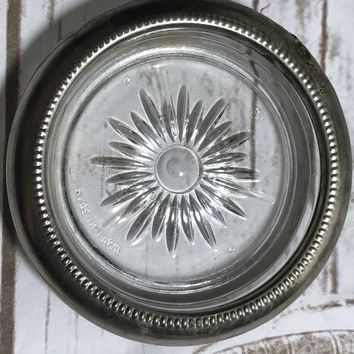Vintage Silverplate Starburst Crystal Coaster or Ashtray MADE IN ITALY