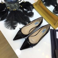 2002 New Arrivals Prada Women Fashion Casual LOW TOP Flats high Heels Shoes top quality black