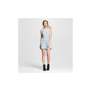 Women's Embroidered Acid Wash Skater Dress Grey - 3Hearts Small Crazy4tank