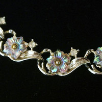 Vintage Necklace Coro  AB Aurora Borealis Art Glass Crystal Flower Floral Rhinestone Gold Plated Choker Retro Mad Men Mid Century Jewelry