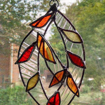 Stained Glass Leaf Sculpture Suncatcher - Fall Decor - Autumn Decor - Leaf Ornament - Fall Leaves - Glass Art - Thanksgiving Decor - Hostess