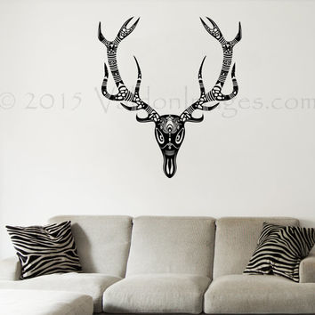 Deer skull tribal wall decal, buck wall decal, Indian wall decal, tribal wall decal, living room decor, bedroom wall decor, boho wall decor
