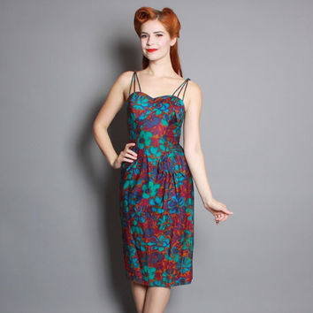 50s Hawaiian Sarong DRESS / ALIX of Miami Floral Sun Dress, xs