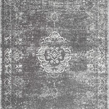 9341 Gray Medallion Distressed Oriental Area Rugs