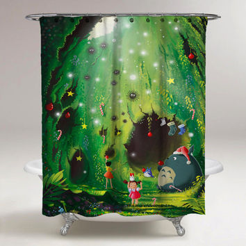 Disney My Neighbor Totoro Christmas Print On High Quality Custom Shower Curtain