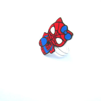 Spiderman Ring, Hello Kitty Ring, Kawaii Rings, Gifts for Geeks, Marvel, Cosplay, Comic Con, Gamer Girl, Geek Girl, Charms, ADJUSTABLE RING
