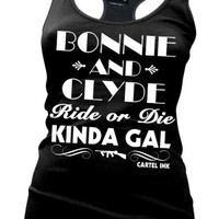 Women's Bonnie and Clyde Girls Racer Back Tank Top - Black