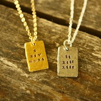 Stamped Date Necklace