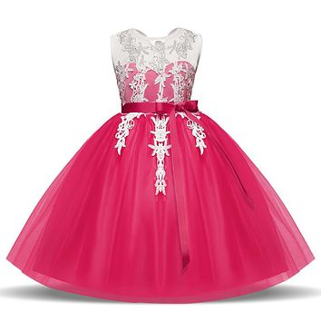 Flower Girl Dress For Wedding Party Kids Clothes Fancy Princess Girl Dress Up Children Communion Prom Gown Baby Girl Wear