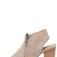 Sbicca Sancia Taupe Leather Peep-Toe Booties