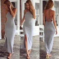 New Fashion Sexy Women Summer Cotton Boho Long Maxi Party Dress Backless High Slit Gray Beach Dresses
