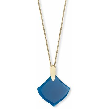 Kendra Scott: Aislinn Gold Long Pendant Necklace In Teal Agate