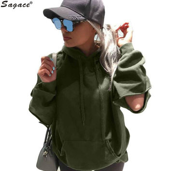 Hot Vintage Hole Girls Loose Long Sleeve Hoodies Army Green Women Casual Hooded Sweatshirt Autumn Winter Lady Pullover Sep6