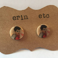 Handmade Plastic Fandom Earrings - Comic Pinup - Katana
