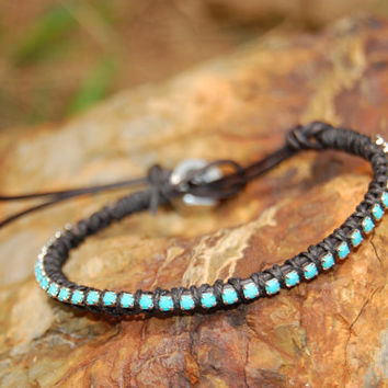 Turquoise Rhinestone Black Wrapped Leather by authenticaboutique