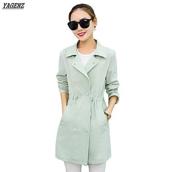 YAGENZ Women Young Trench Coat Women Spring Clothes NEW100% Korean Style Thin Long Sleeves High Quality Autumn Windbreaker K116