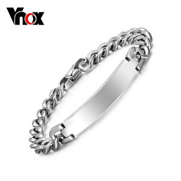 Vnox Free engraving 316l stainless steel bracelet & bangle for Women Men ID bracelets jewelry never rust