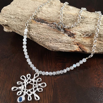 Snowflake Necklace - Silver Necklace - Handmade - Snowflake Pendant - Moonstone Necklace - Blue Topaz Necklace - Snowflake Necklace