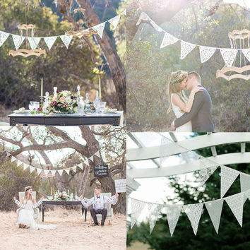 12 Flags White Lace Flag Wedding Banner Pennant Wedding/Birthday Party Decor Flags Wedding Accessories Party Supplies