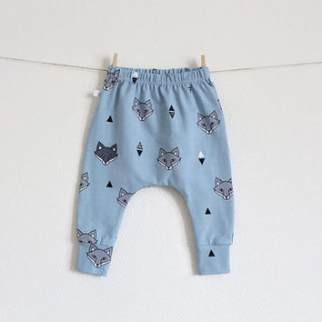 Baby infant harem pants with foxes. Light blue jersey knit. Slim fit harem pants with cuffs. Jersey knit fabric. Infant pants. Geometric
