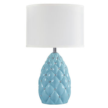 Signature Designs by Ashley Sosie Aqua Blue Rhinestone-detailed Ceramic Table Lamp
