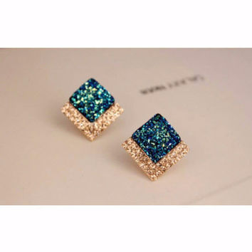 Square Crystal Stud Fashion Earrings