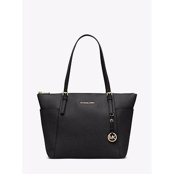 DCCKLO8 Authentic MICHAEL KORS MK Black Leather Jet Set Tote $248