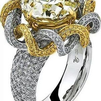 AMAZING 9.10CTW YELLOW ROUND 925 STERLING SILVER ENGAGEMENT AND WEDDING RING